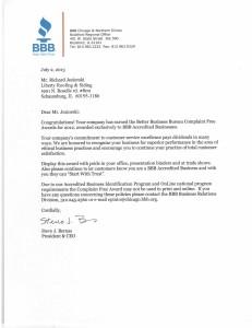 bbb award letter