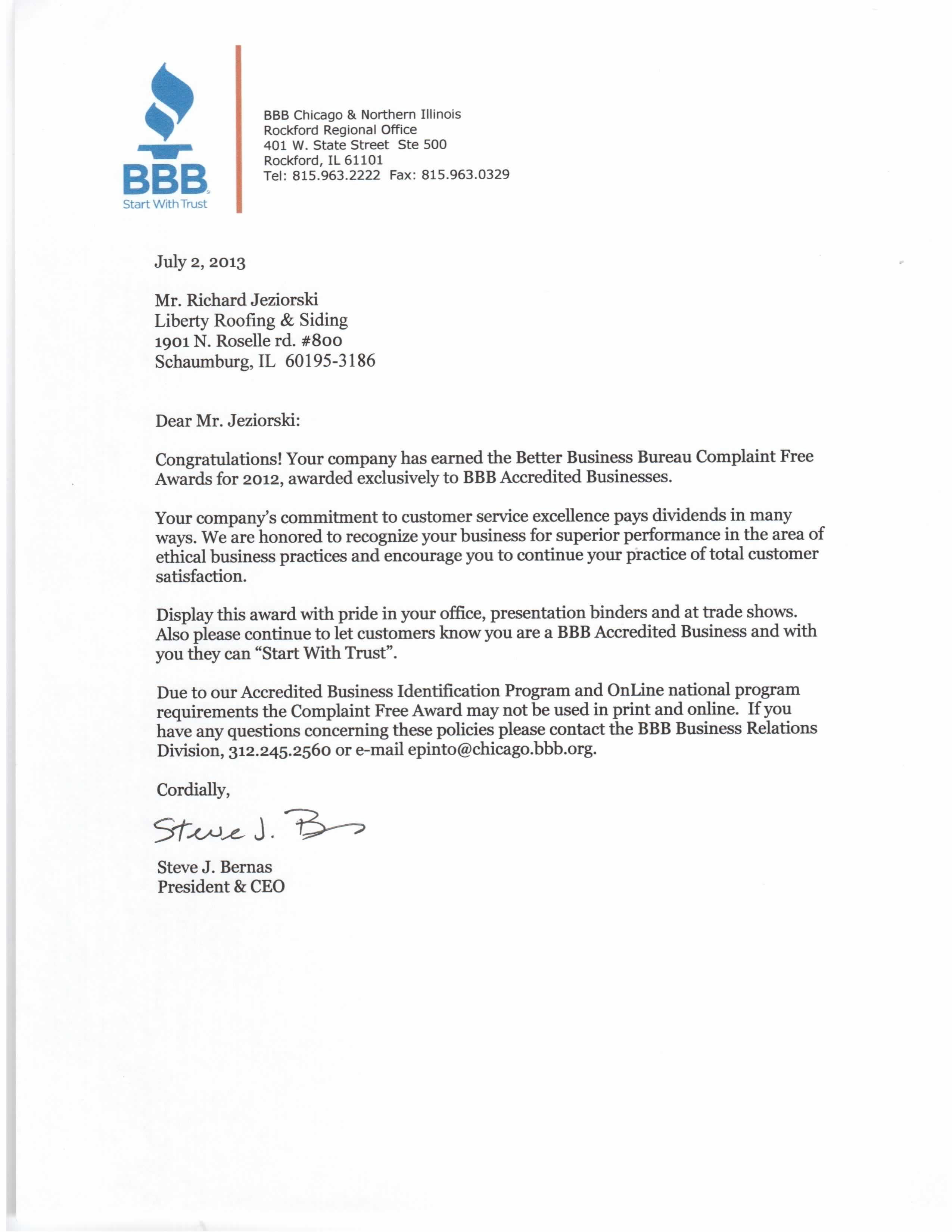 Liberty Roofing & Siding Inc. BBB complaint free award - new roof